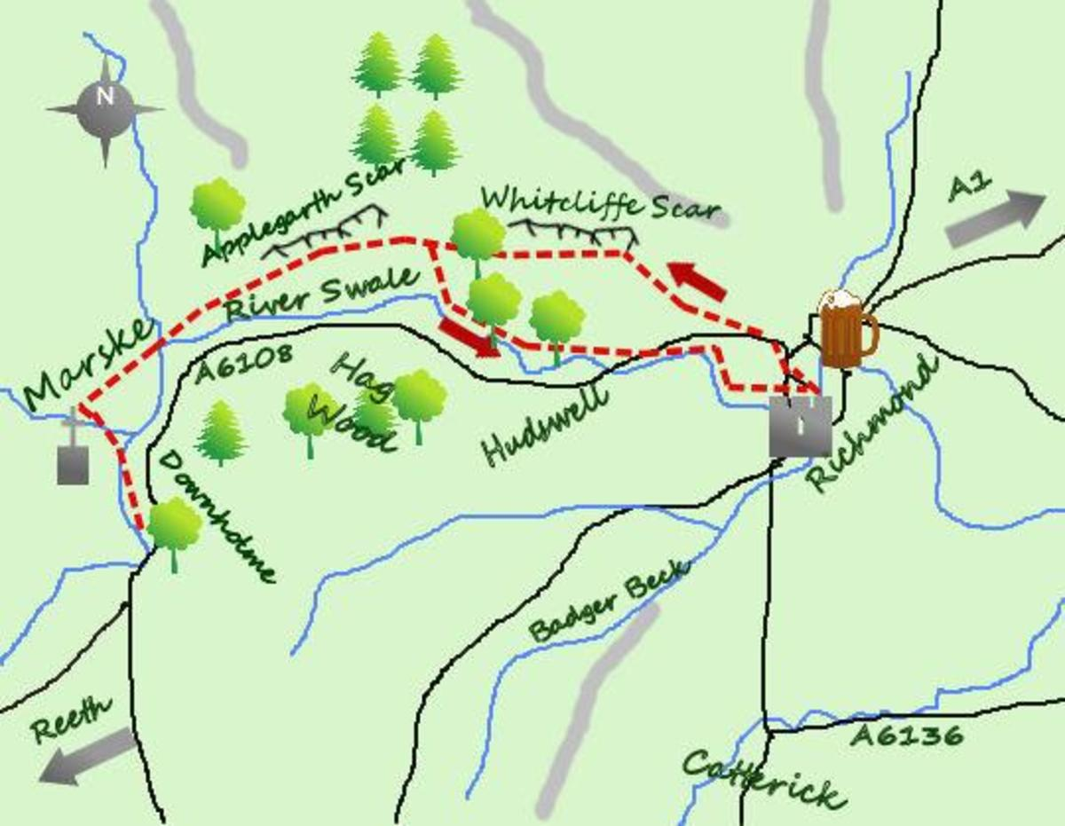 Sketch map of the walk west from Richmond and return by Downholme