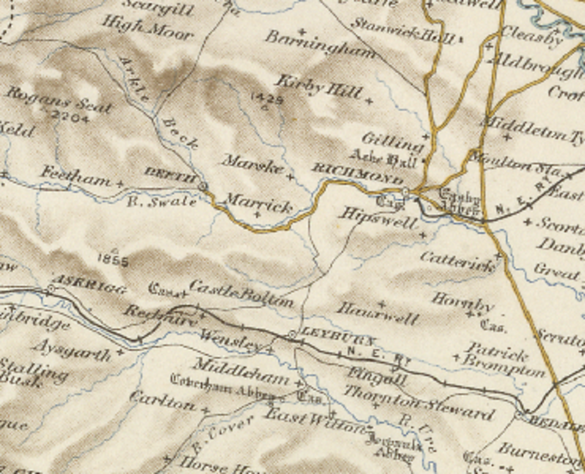 A period map shows Richmond and villages upriver and away from the River Swale