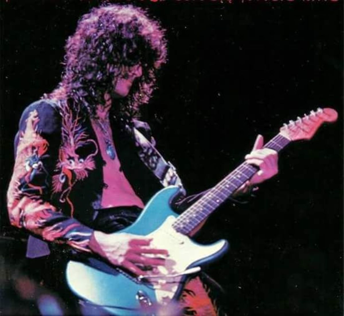 Jimmy Page playing a Fender Stratocaster, presumably during No Quarter, at Earls Court on the 23rd of May 1975