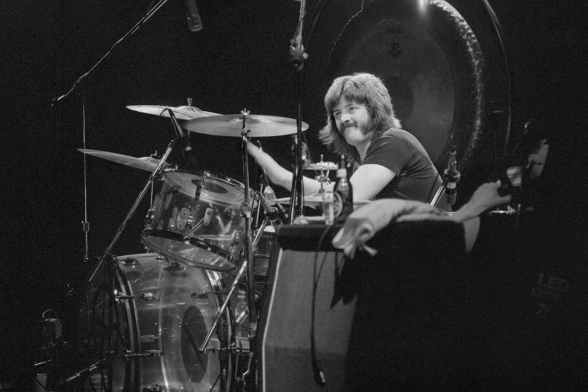 John Bonham and his Vistalite Ludwig drums, unknown date, Earl's Court 1975