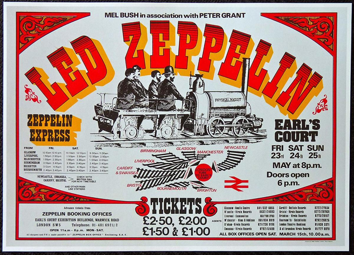 One of the most collected posters in rock history, made for advertising the final three concerts (the only three that were booked at first) at Earls Court in 1975