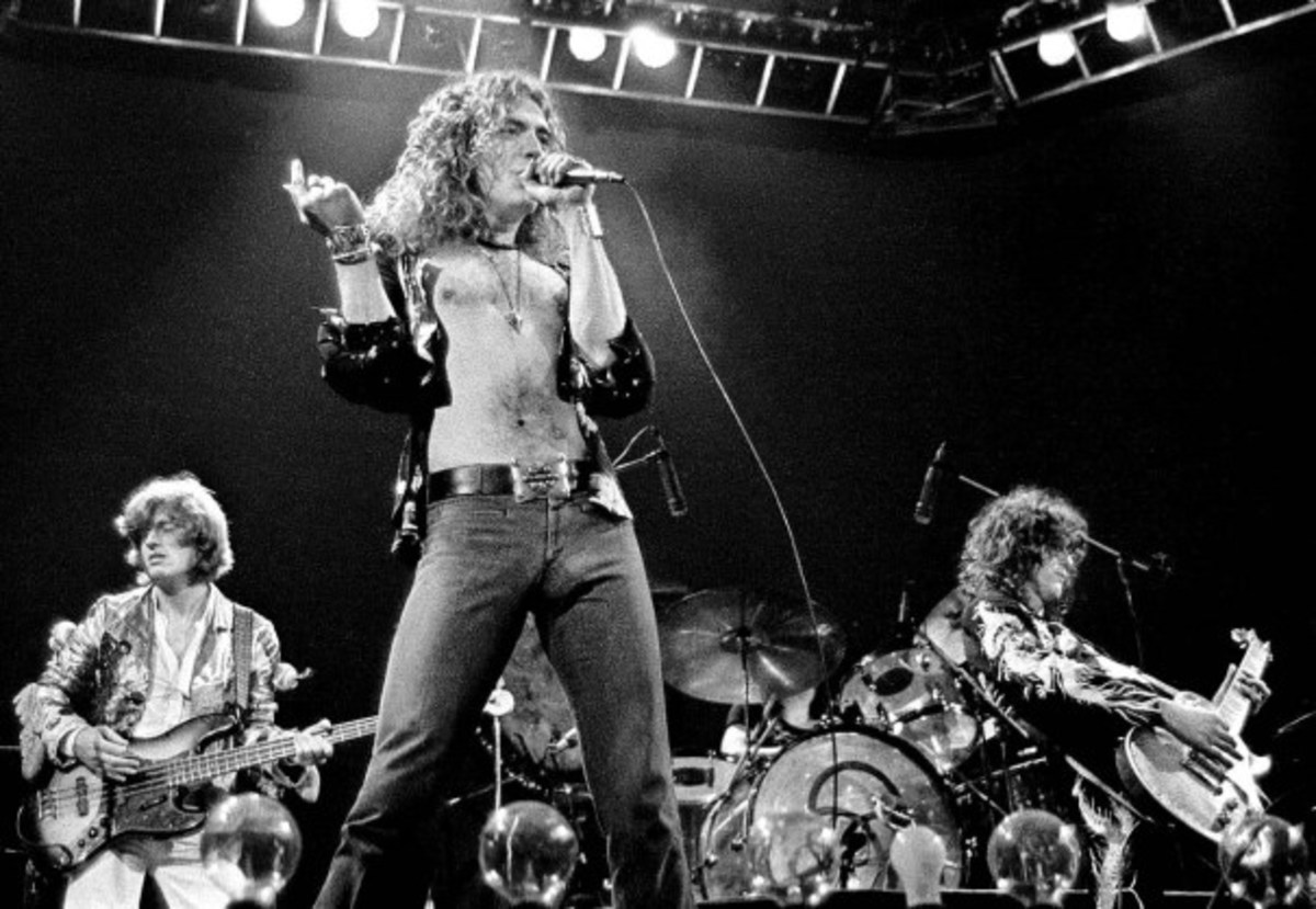 Led Zeppelin on stage at Earl's Court, unknown date, 1975