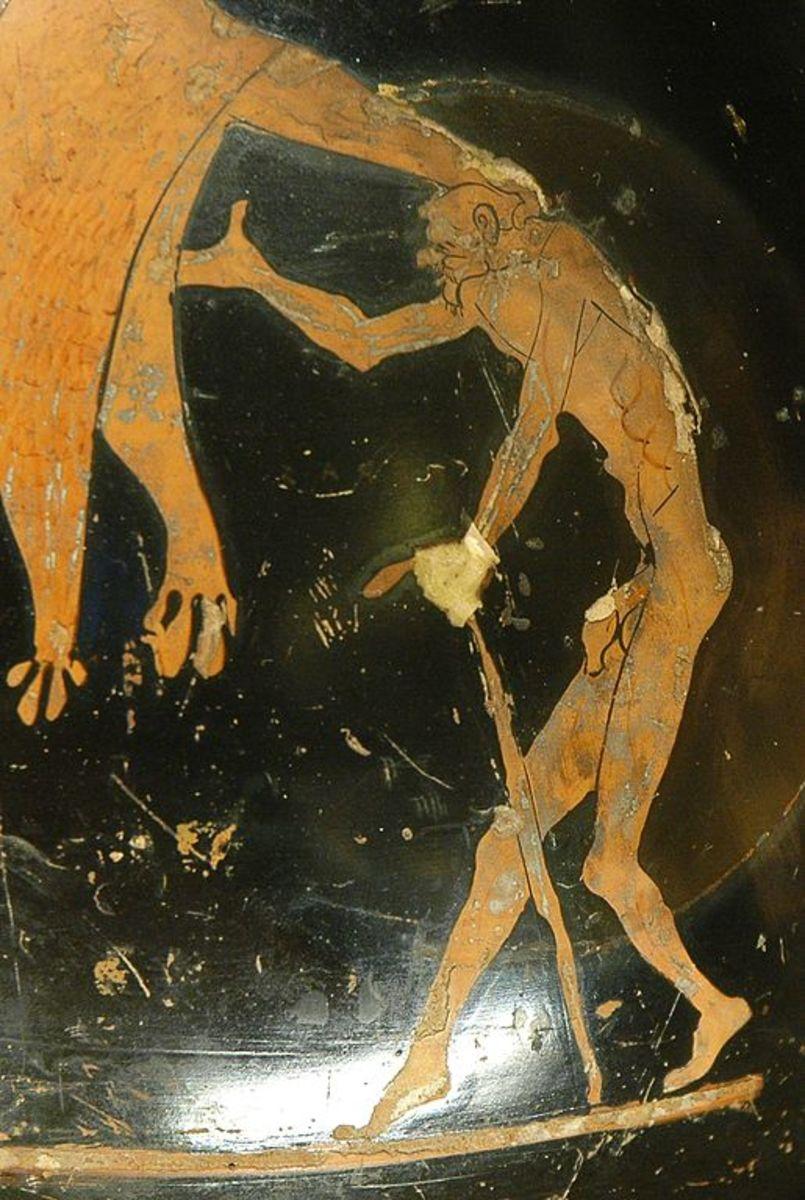 Depiction of Geras, the god of old age.
