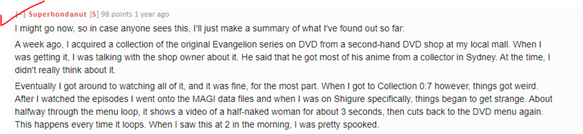 The Reddit post, about the Evangelion DVD anomaly.