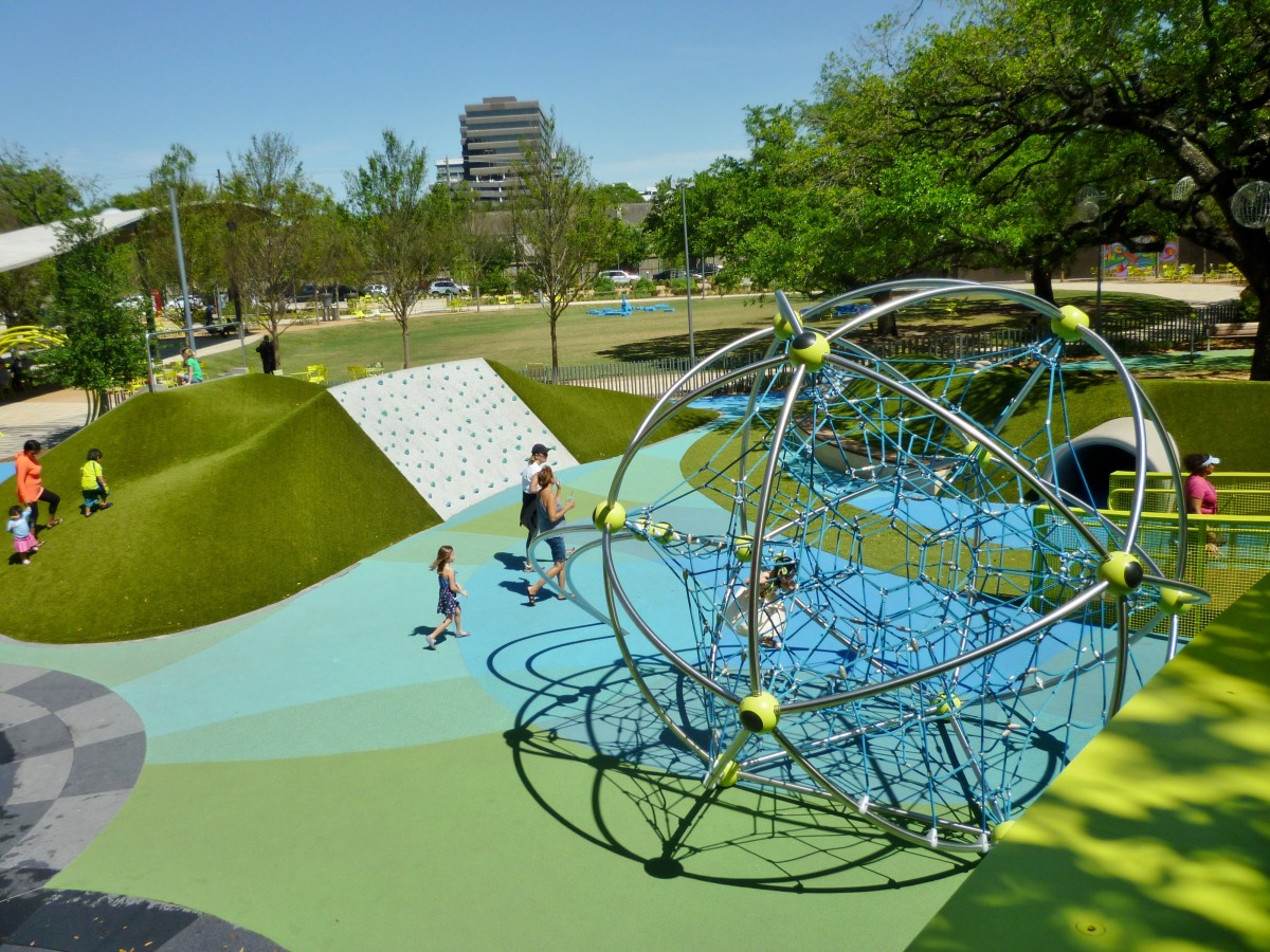 Another view of children's play area from elevated boardwalk