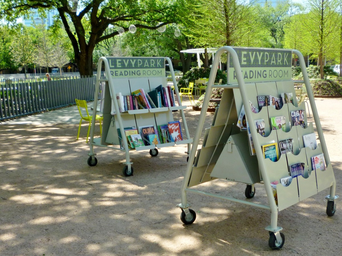 Magazines & books provided for reading in Levy Park