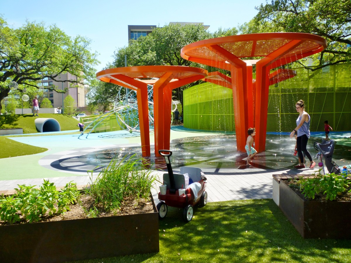 Water features in children's play area