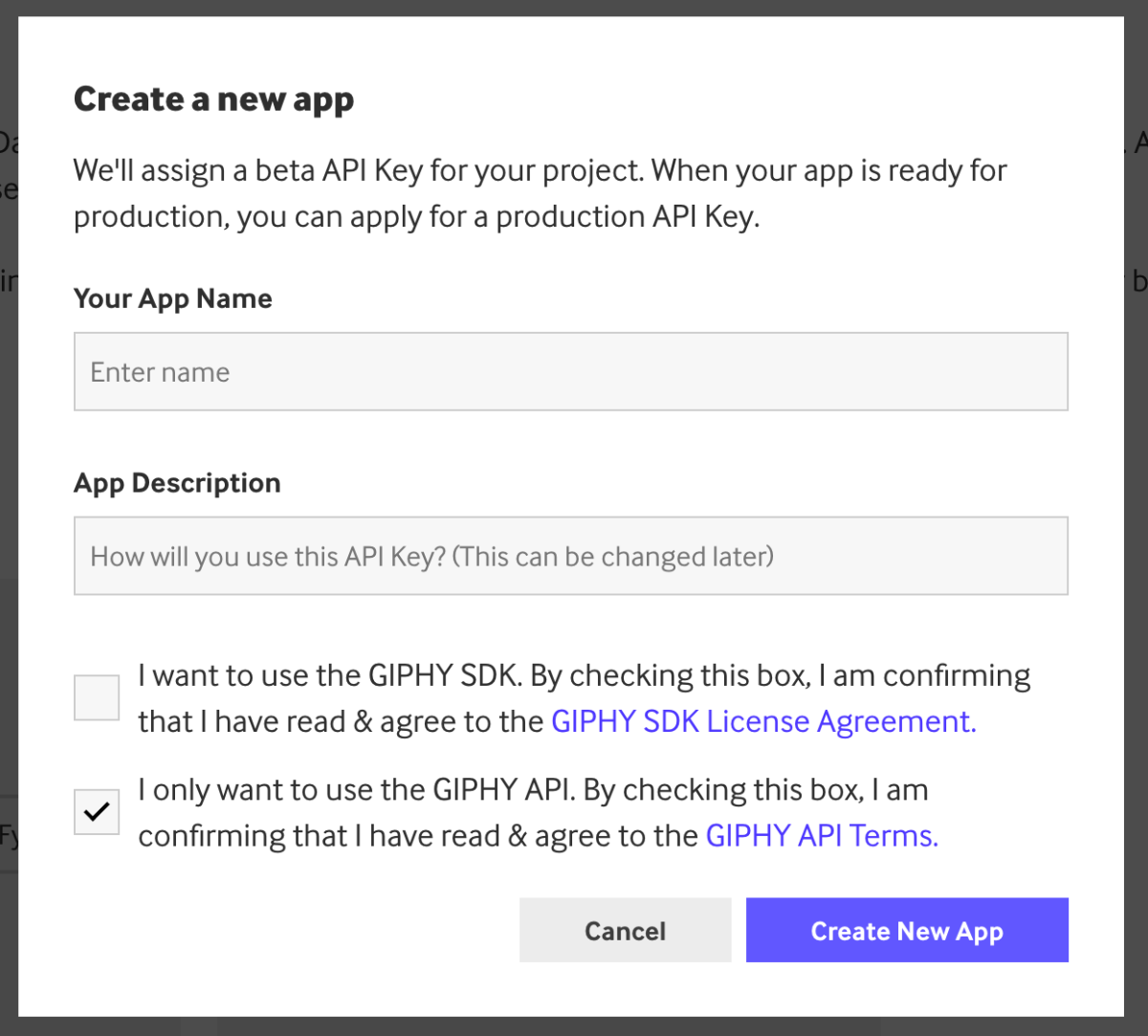 Create a new application modal