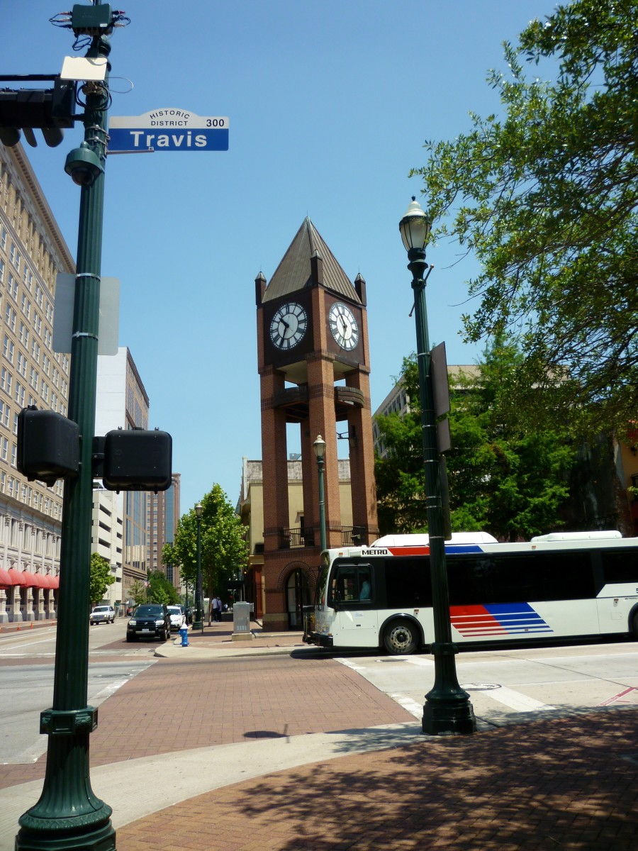 Market Square Park in Houston with the clock tower