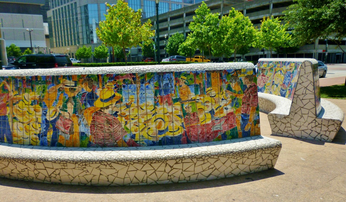 Mosaic encrusted benches by Malou Flato