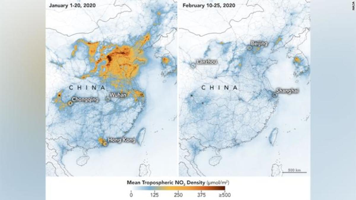 This satellite image shows momentous decreases in Nitrogen Oxide over China