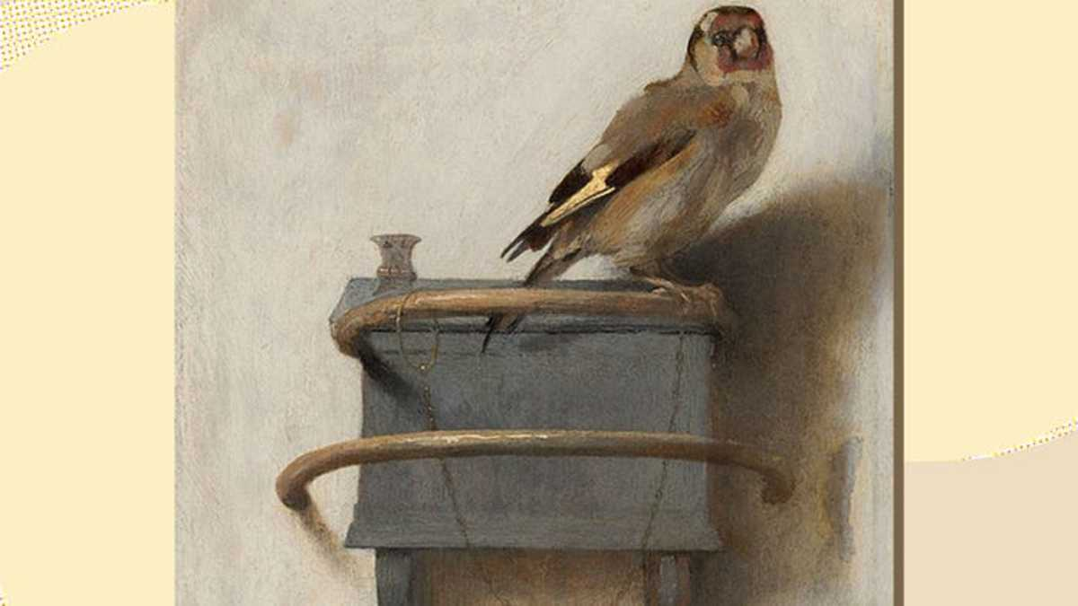 "This photo of the Goldfinch by Fabritius is also the book cover of ""The Goldfinch"""