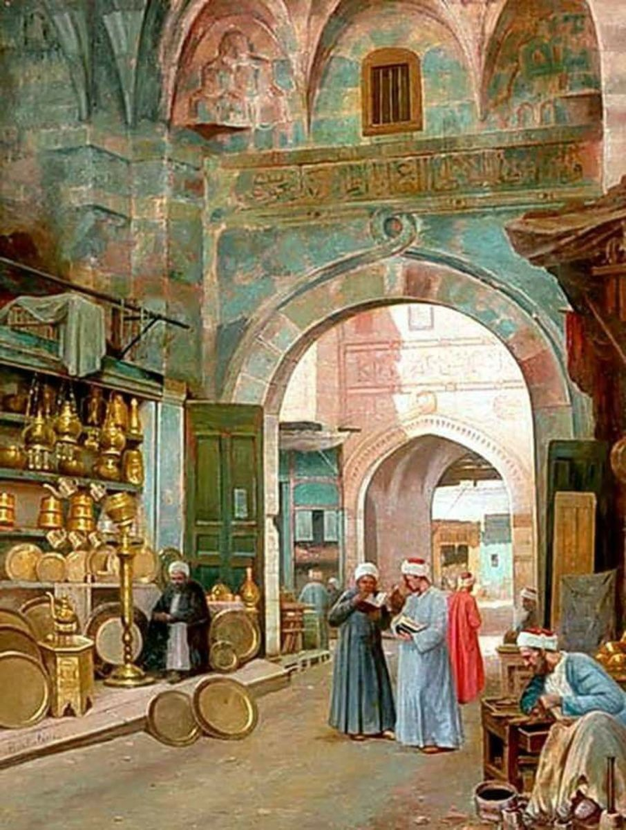 Khan el-Khalili by Filippo Bartolini - Italian, 1861-1908 Oil Painting.