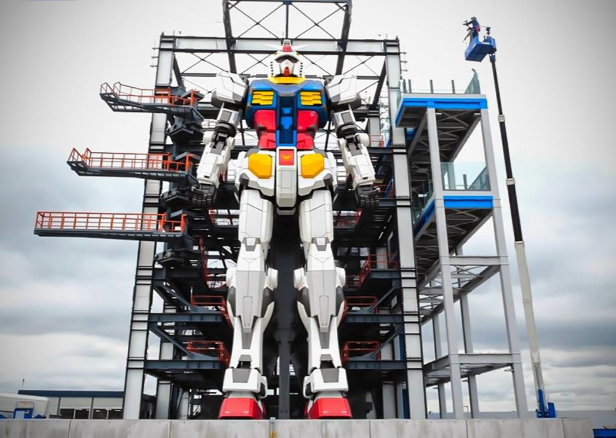 The life-size walking Gundam in Yokohama, Japan.