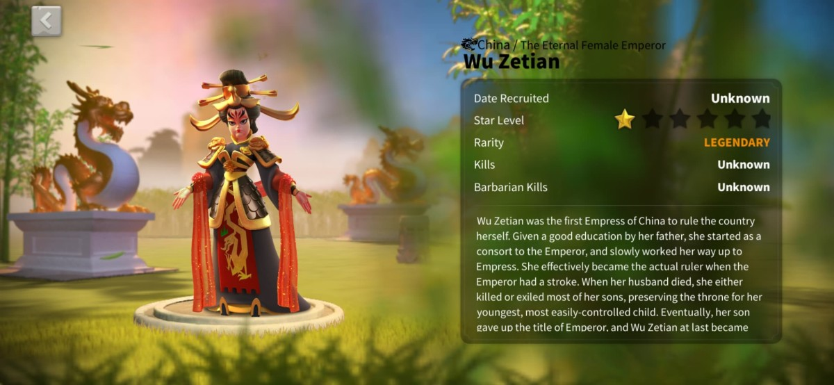 """Wu Zetian Profile Page in """"Rise of Kingdoms"""""""