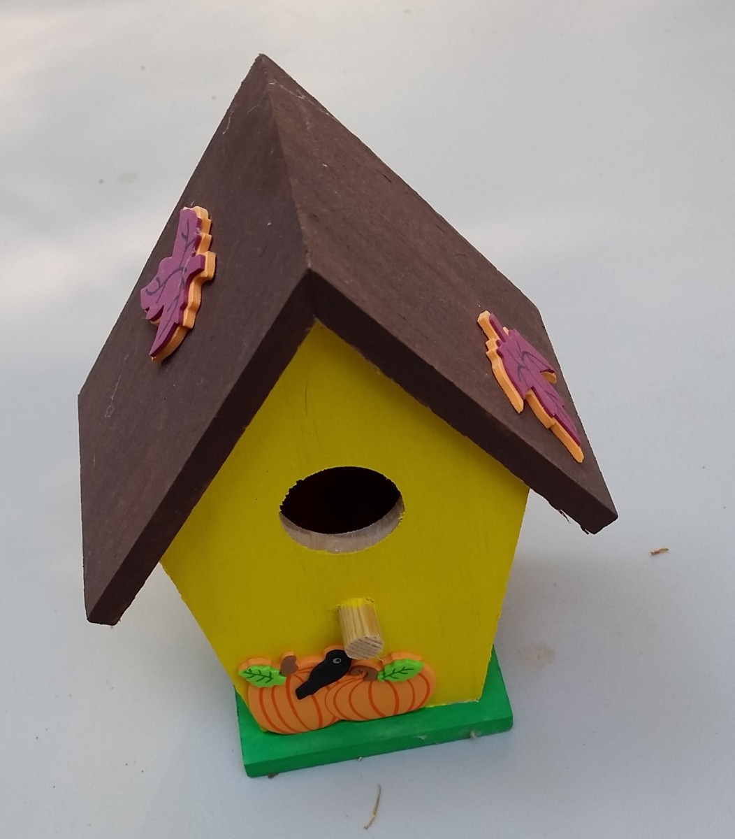 I found this miniature bird house at a craft store for $1. After a little paint and some autumn stickers, it's ready for the fairy (or ghost) garden.
