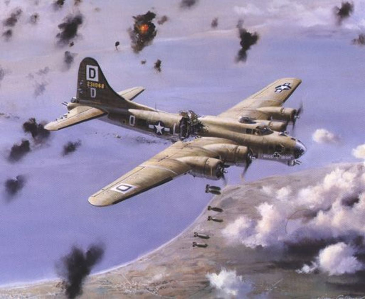 B-17 like Snap! Crackle! Pop! damaged and under fire during the War.