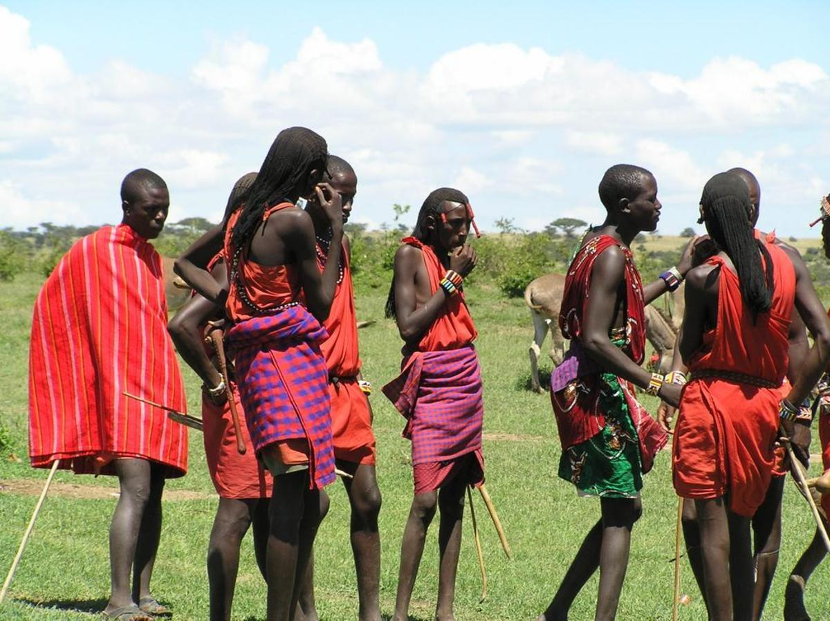 Maasai men (they have the responsibilities of protecting their community)