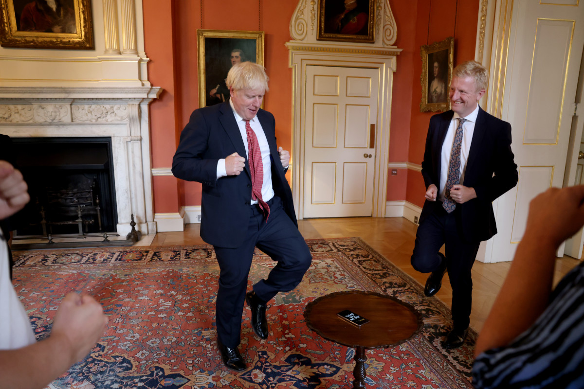 Culture Secretary, Oliver Dowden dancing a jig with Boris.