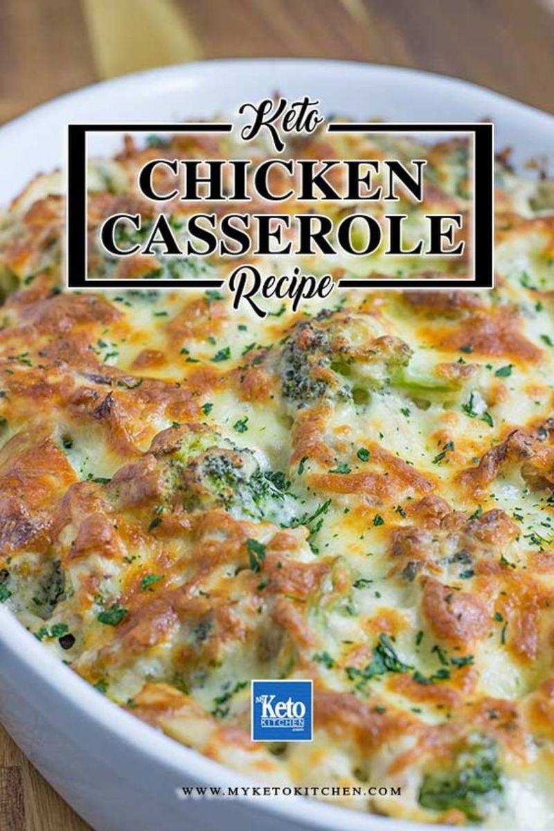 Keto Chicken Cheese Broccoli Casserole by myketokitchen.com