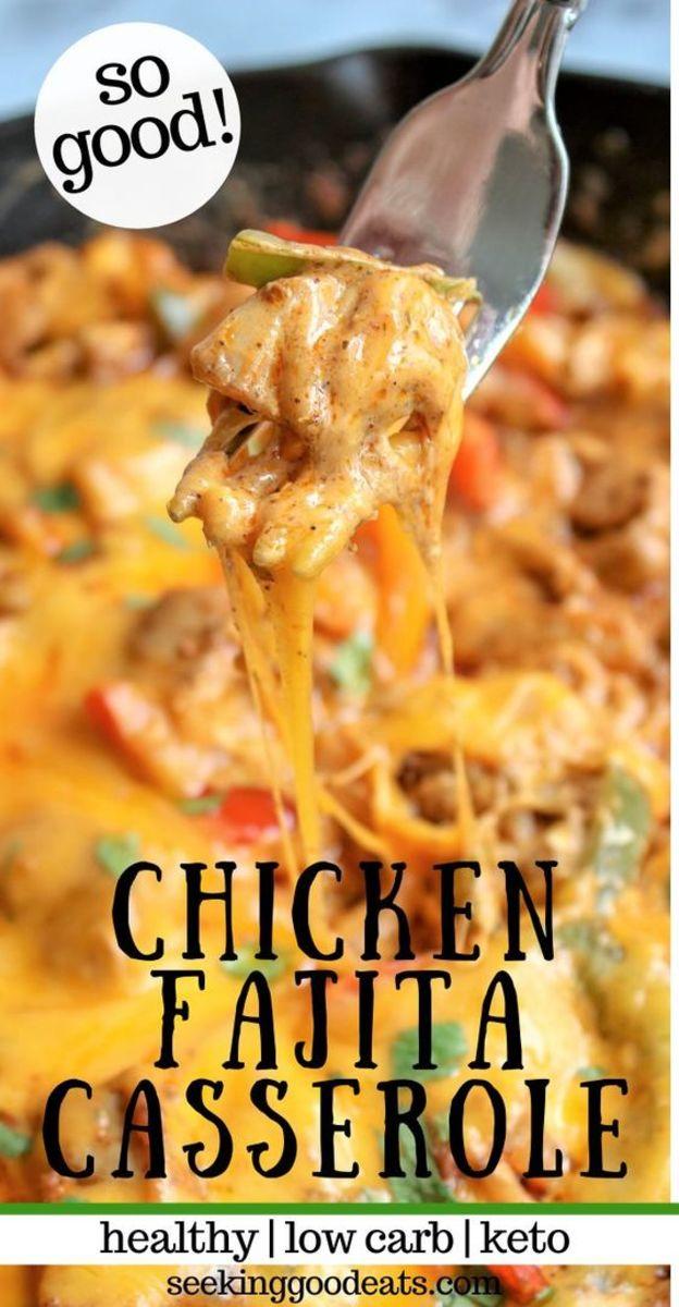 Chicken Fajita Casserole by seekinggoodeats.com