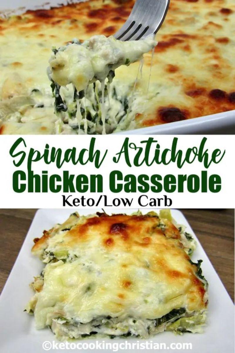 Keto Spinach Artichoke Chicken Casserole by ketocookingchristian.com