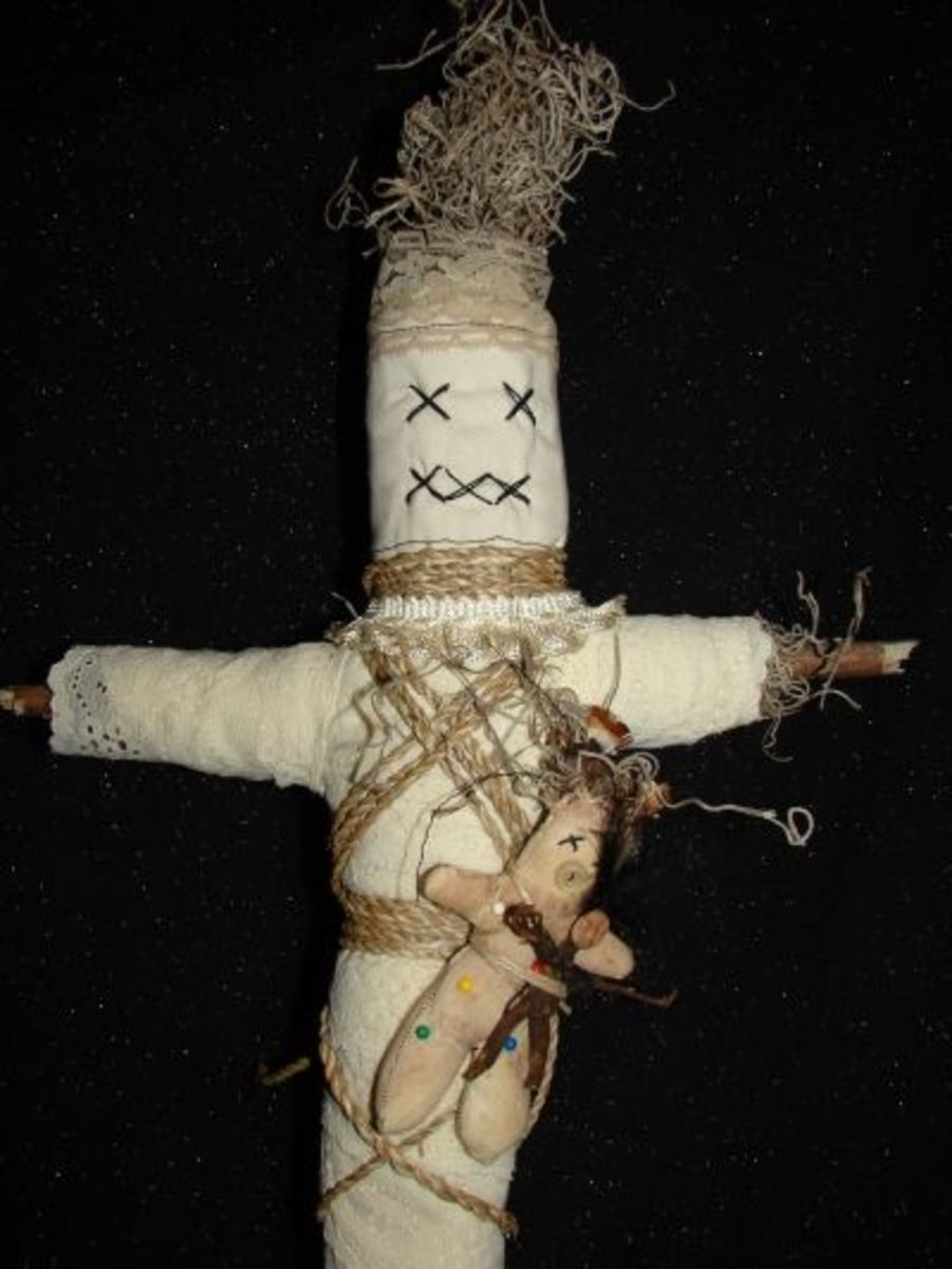 Giant Voodoo Doll with Voodoo poppet and mandrake doll baby