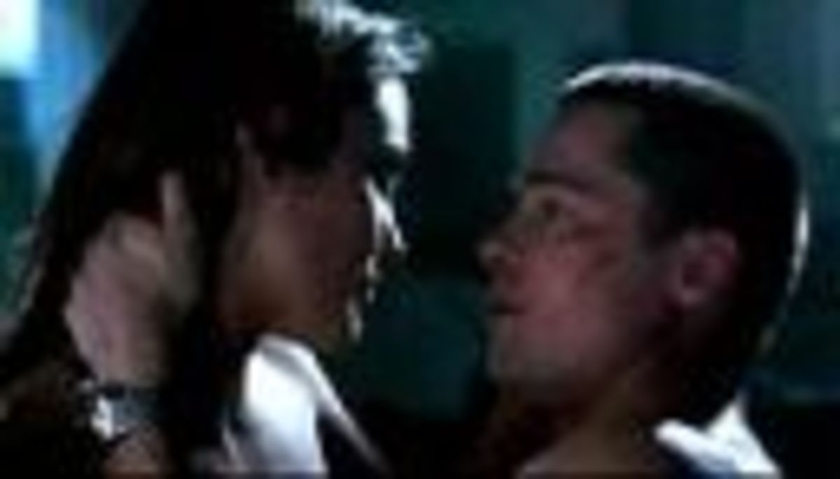 Mr. and Mrs. Smith kiss