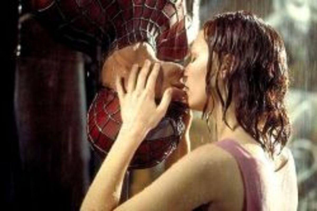 Spider-Man upside-down kiss