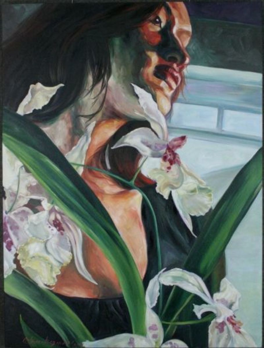 """""""Orchids"""" 30x40x2 oil on canvas by Kathy Ostman-Magnusen"""