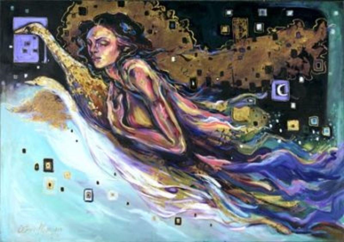 """Swan Song"" 30x40 oil by Kathy Ostman-Magnusen"