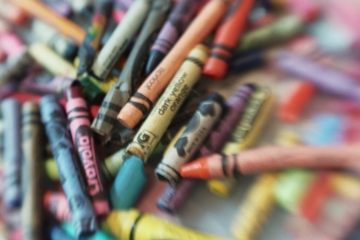 Old broken crayons