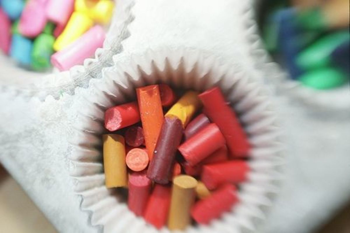Place broken crayons in cupcake liners