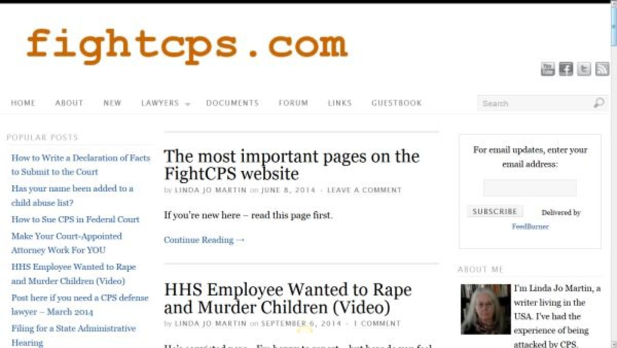 The FightCPS website provides support and information to families falsely accused of child abuse or neglect.
