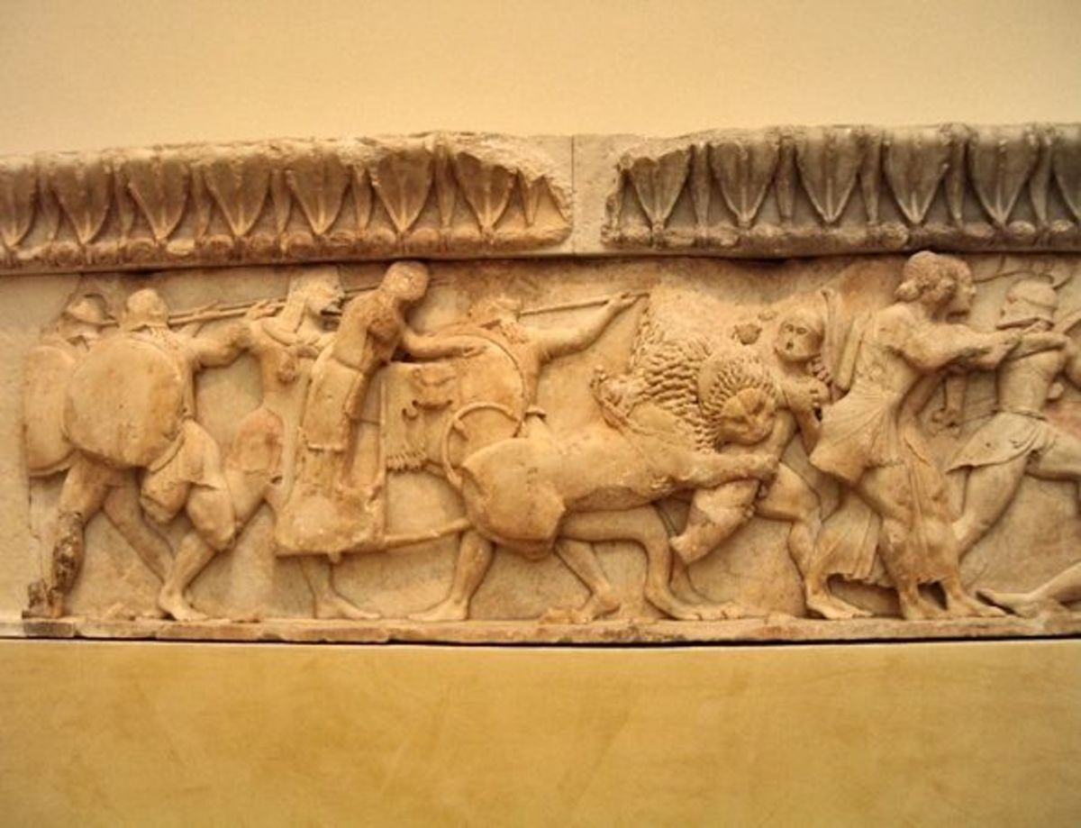 More of the North Frieze of the Siphnian Treasury.  The goddess Cybele attacks from a chariot drawn by lions! Artemis and Apollo are in front of her.