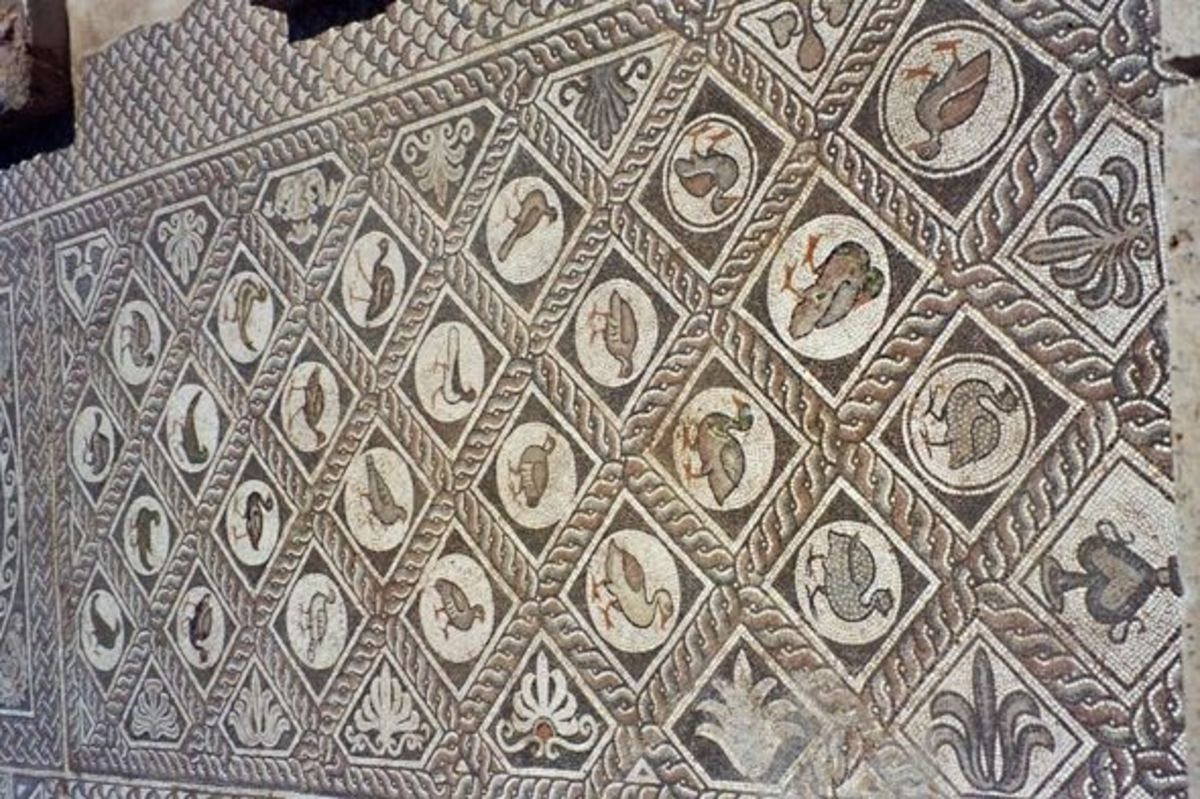 Jumping far ahead, this 5th century CE mosaic on the floor of a Christian church shows the tradition of old Roman mosaics: exotic animals of all sorts decorate the spaces, with a few human figures thrown in.