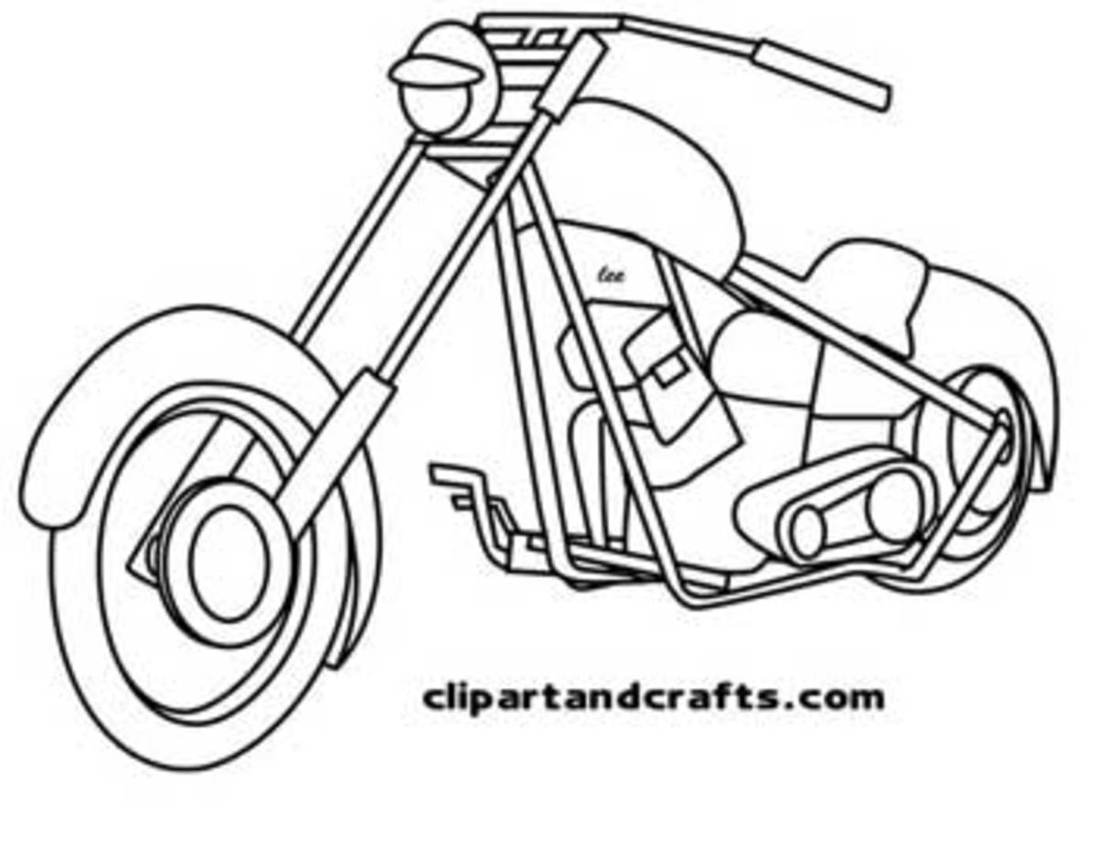 My drawing,  Harley chopper coloring page