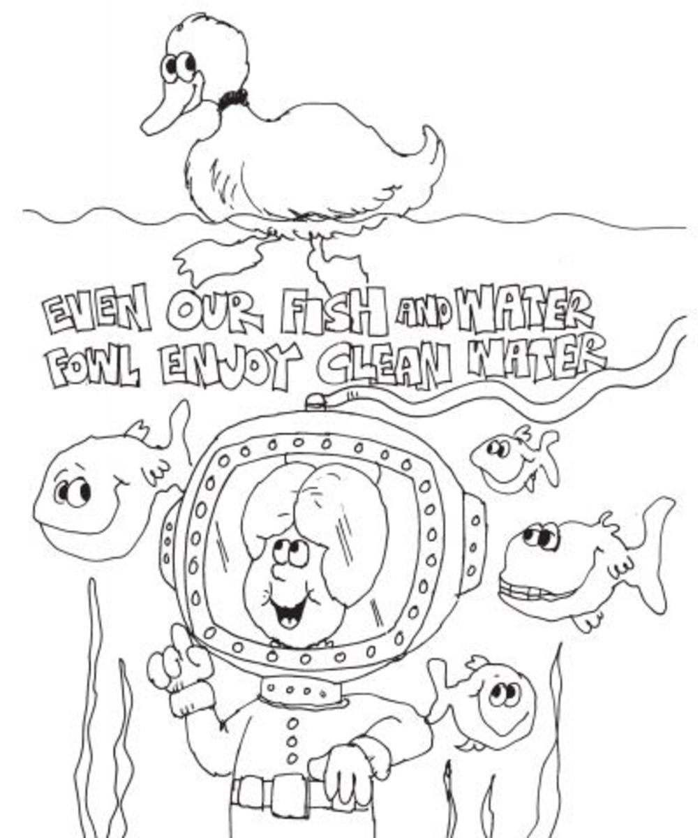 Auntie Pollution Water Protection Coloring Page