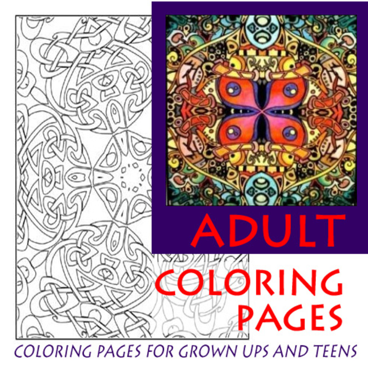 Coloring for adults and teens for relaxation, stress reduction, therapy and art hobby enjoyment