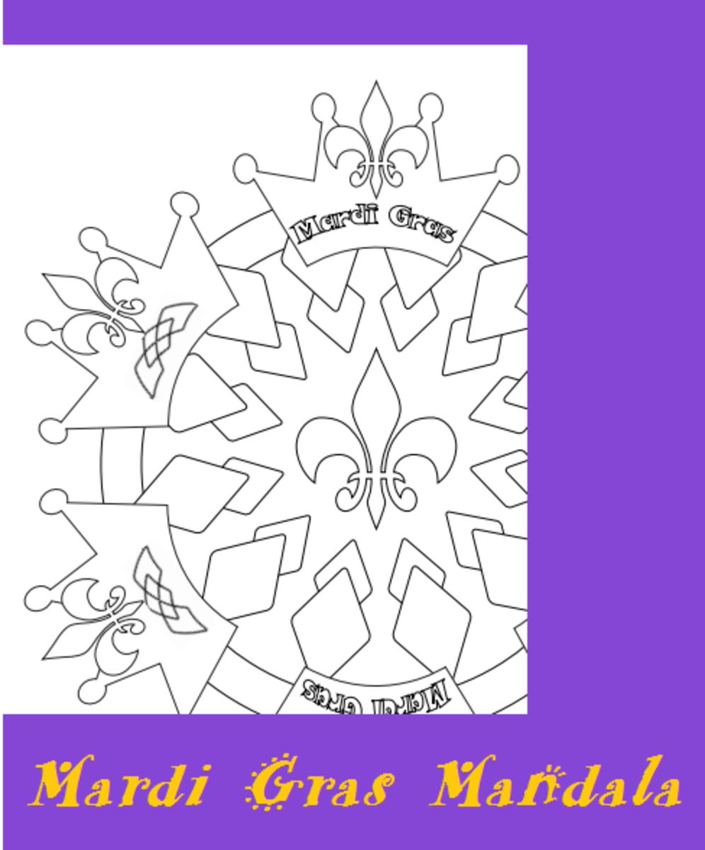 Mardi Gras Mandala Design Printable