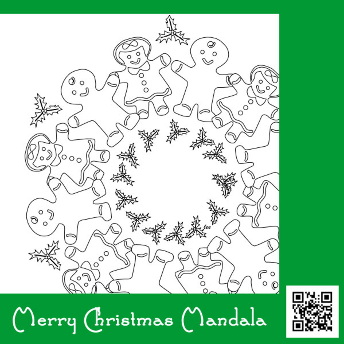 Merry Christmas Mandala, gingerbread cookies wreath coloring page