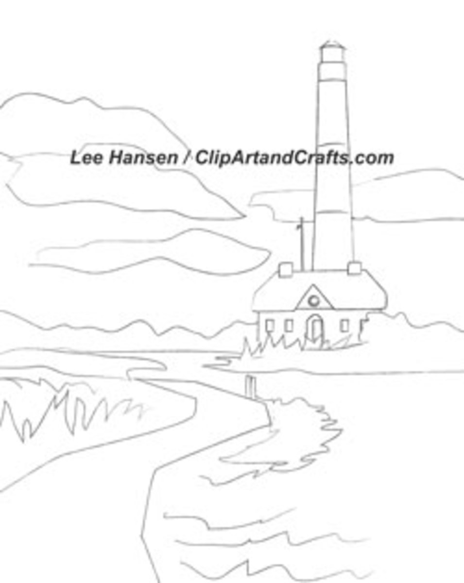 Fire Island Lighthouse art sketch for adult coloring art hobby