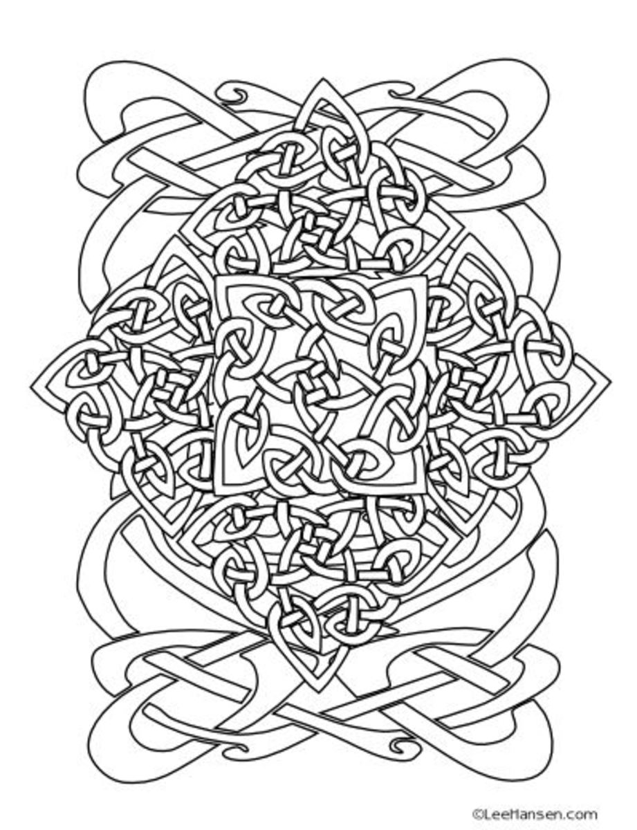 Complex Celtic coloring page design
