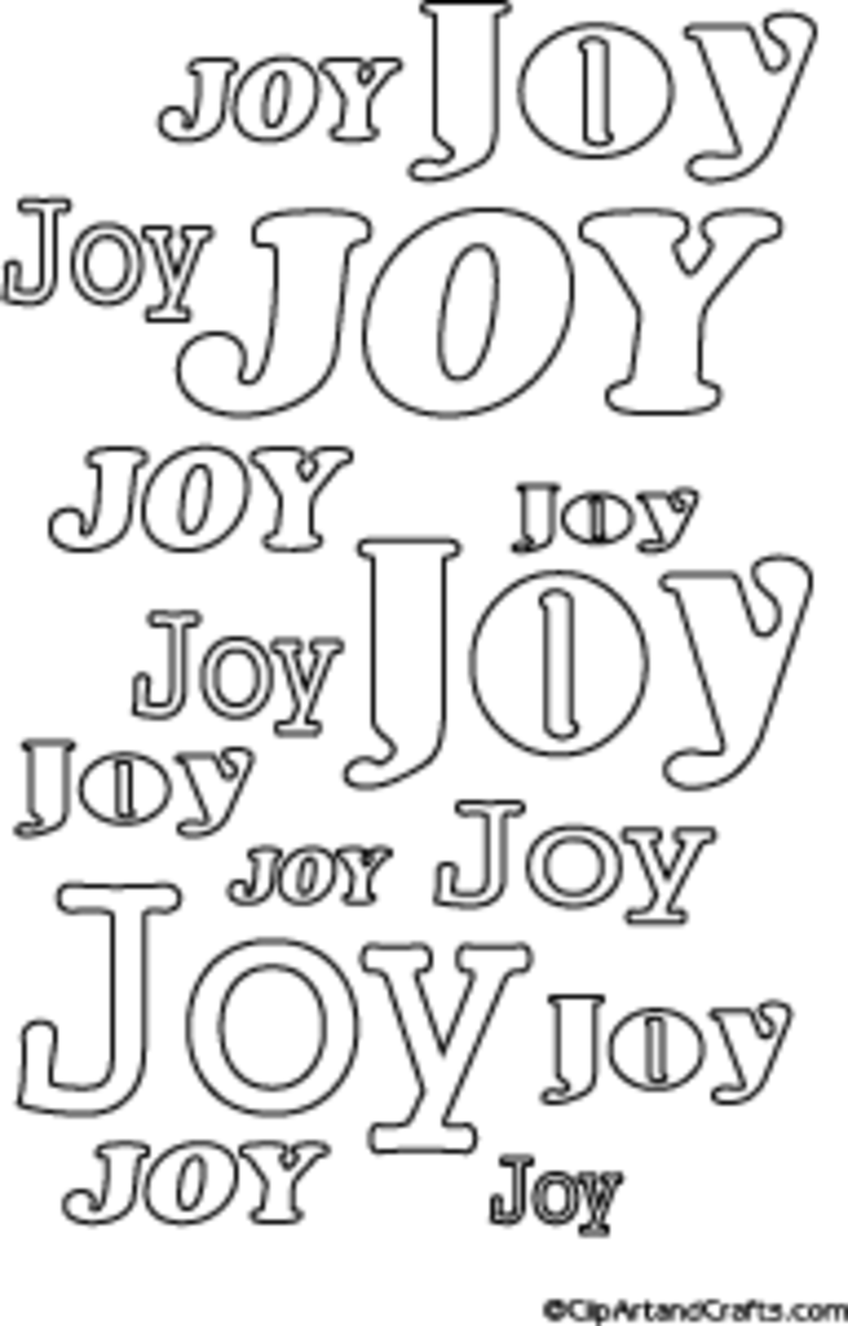Printable Holiday Poster to Color - Joy Word Art