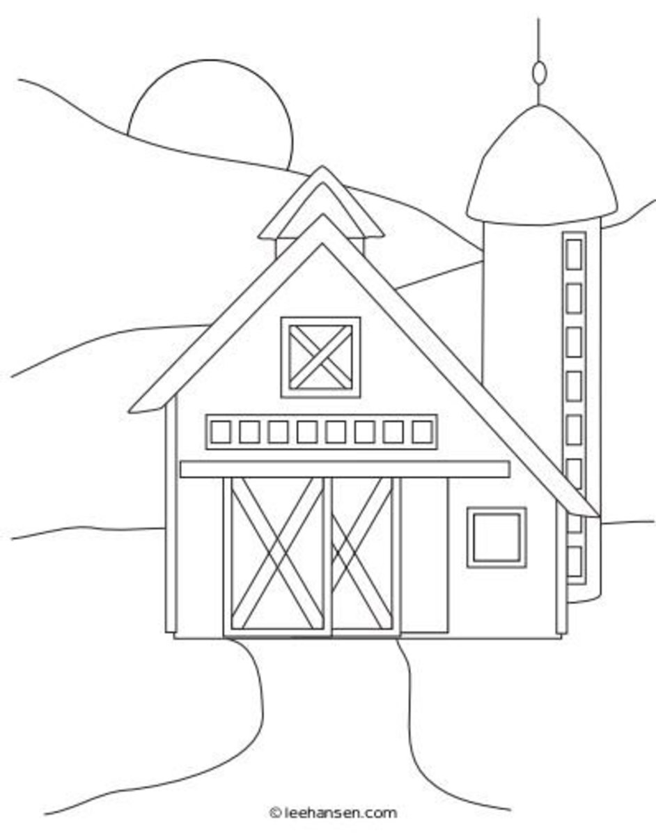 Simple farm scene sketch coloring page