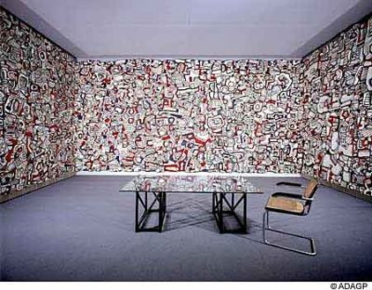 8ft by 20ft panoramas on three walls by Jean Dubuffet