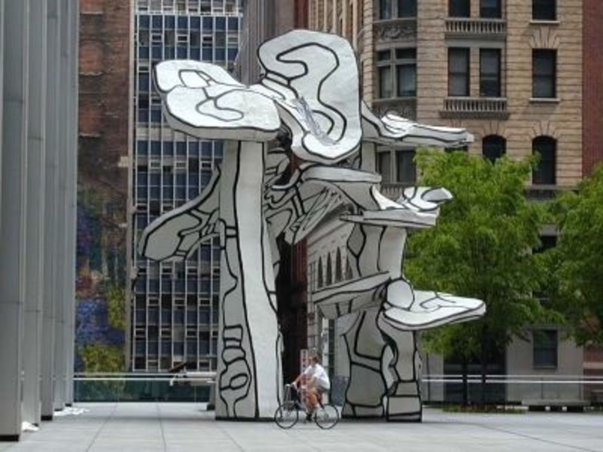 Group of Four Trees by Jean Dubuffet on One Chase Manhattan Plaza, NY.