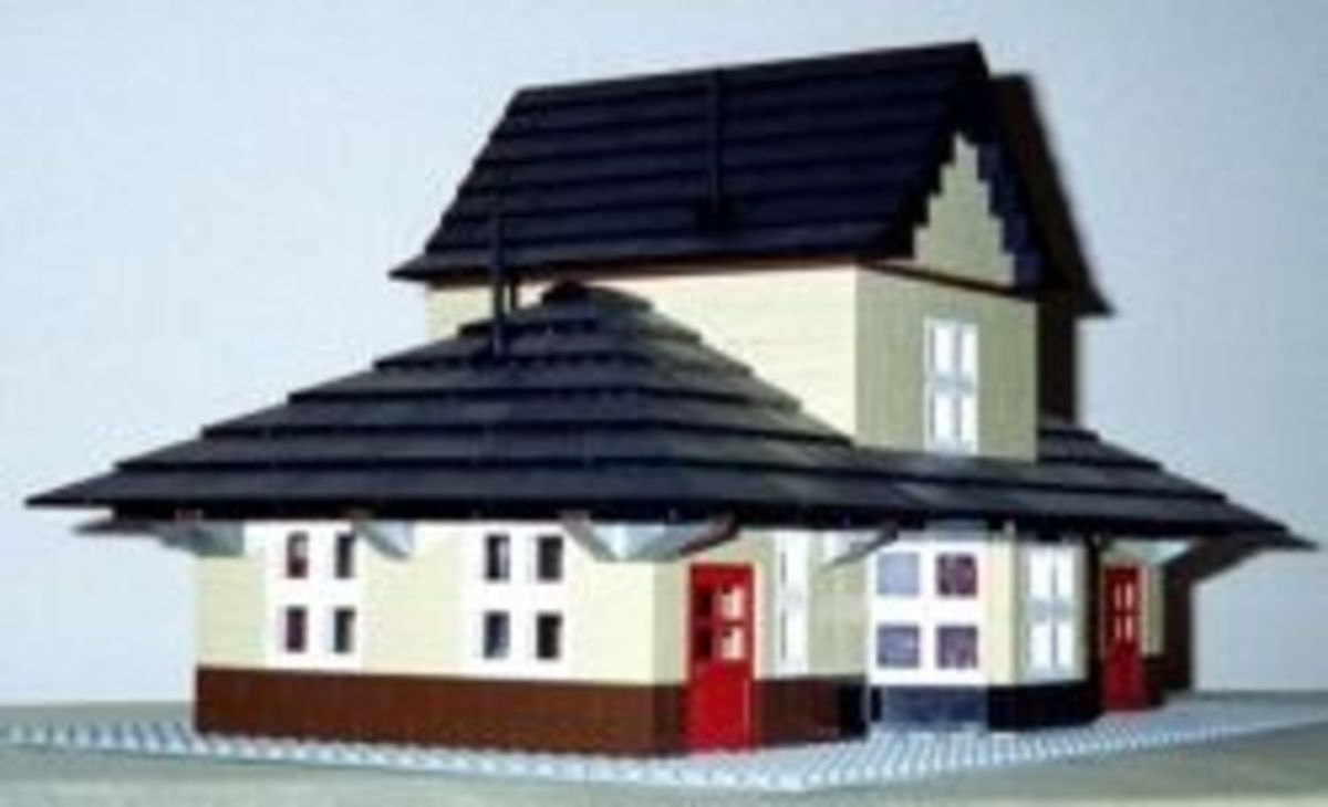 LEGO model for railroad depot