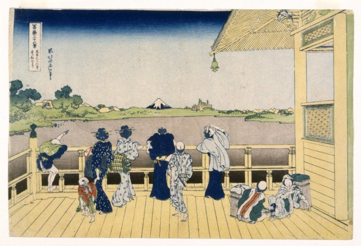 Fuji from the Platform of Sasayedo. Part of the series Thirty-six Views of Mount Fuji, no. 07 by Katsushika Hokusai