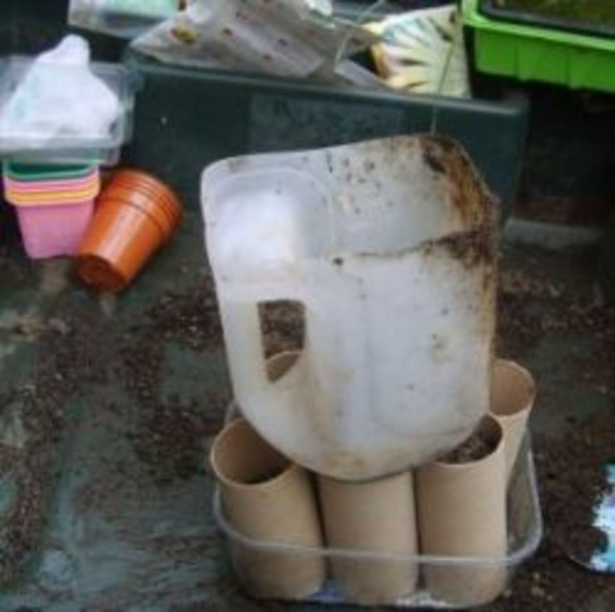 Recycled plastic compost scoop and funnel